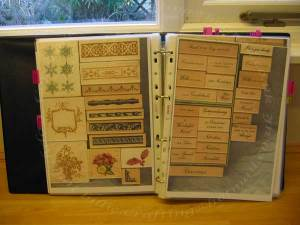 Sampler page of photocopies of rubber stamps