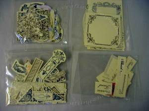 Here are my Anna Griffin stamps grouped in bags; Motif, Cartouche, border and Text