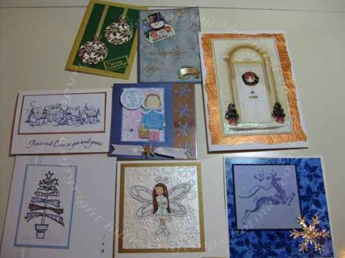 My Christmas cards thanks to members of Stamping Mad Forum