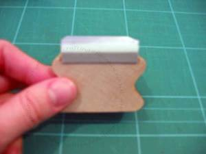 Here is the foam mounted onto the wooden block. Its much easier to use this way.