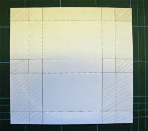 This shows the scrore lines and where to cut and fold, to create your box
