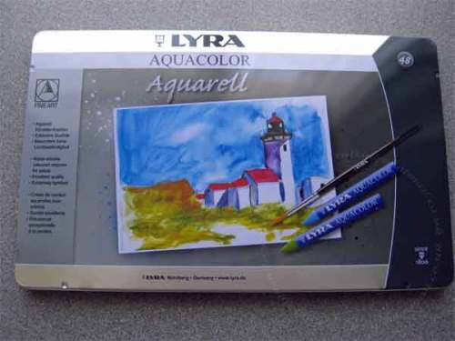 Tin of 48 Lyra Aquacolor Crayons