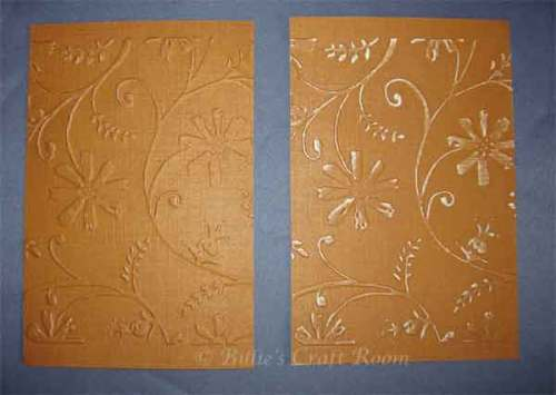 Embossed cardstock which has been sanded