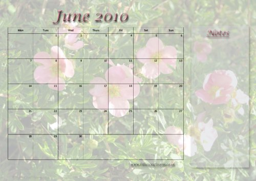 Free downloadable calendar page for June 2010