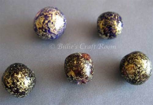Close up of purple polymer clay beads