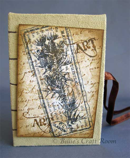 Fabric Covered book, decoarated with ATC