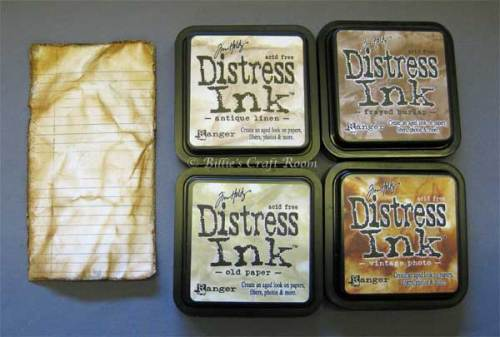 Card Storage Journal; Distress inks used on inside pages