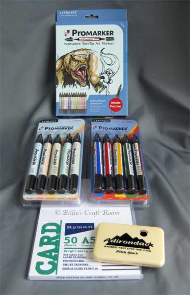 Pro Markers, Cardstock and ink pad