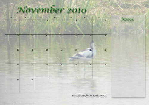 Free calendar Page for November 2010