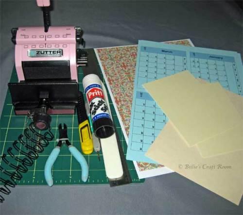 Tools & Materials for BIA Calendar Project