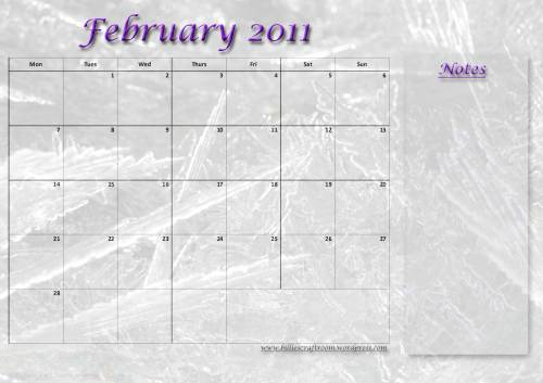 Download your free Calendar for February 2011