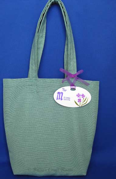 Hand made tote bag with embellished gift tag