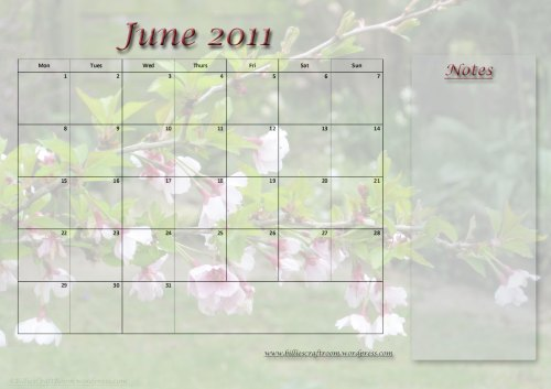 Free Download; Calendar Page for June 2011