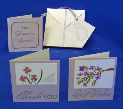 Set of Gift cards in dimensional Envelope box
