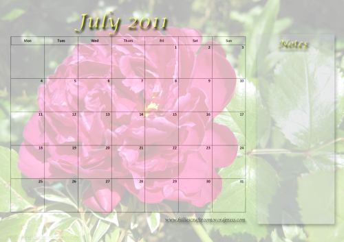Free download. Calendar page for July 2011