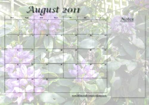 Free calendar Page; August 2011