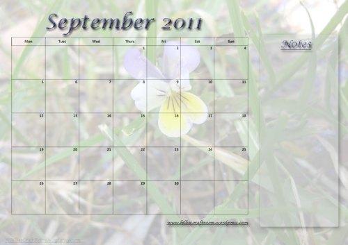 Free calendar Page; September 2011