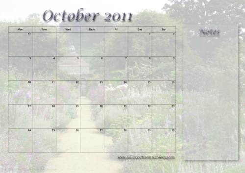Free download; Calendar Page for October 2011