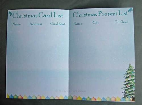 Christmas List 2011. Inside pages