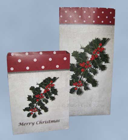 Medium/Large and small Gift Bags. Christmas Holly 2011