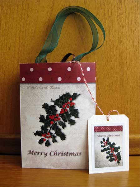 Holly Gift Bags with handles and tags