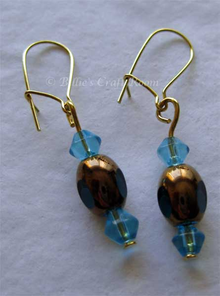 Earings with glass beads