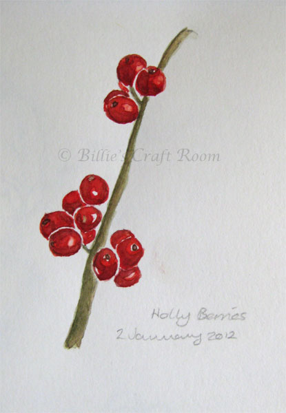 Holly Berries in watercolour