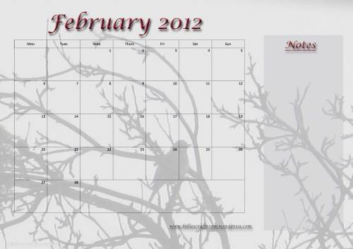Free Download: Calendar Page; February 2012