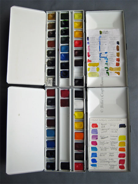 Colour cards for watercolour paint; in use
