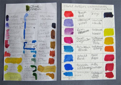 Colour cards for watercolour paint