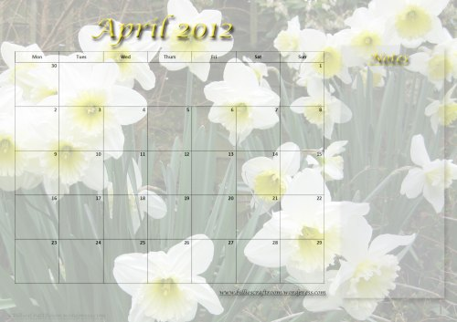 Free download Calendar Page; April 2012
