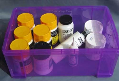 'Really Useful box' full of acrylic mediums