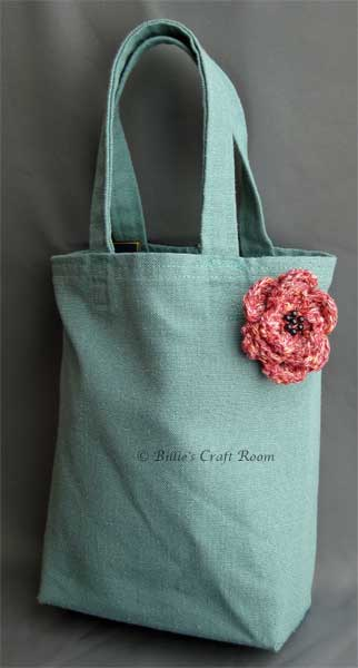 The tote bag I made, with Crochet flower made by Wendy Poole