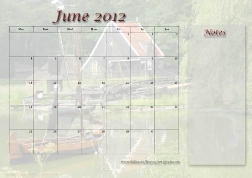 Free Calander Page; June 2012