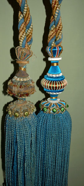 18th Century Tassels. Before and after. Restored by Gina Barrett
