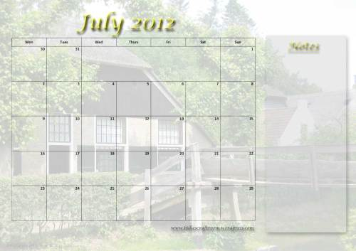 Calendar page for July 2012