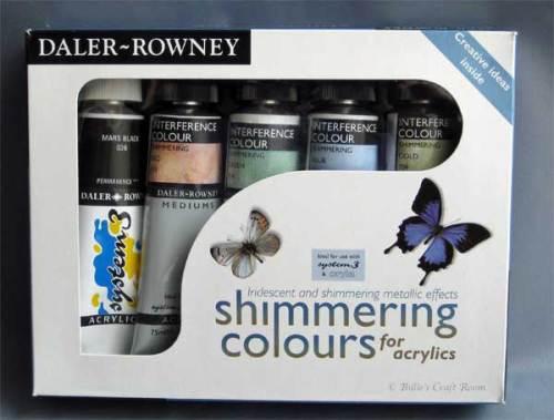 Daler Rowney; Simmering Colours. INterferenc colour acrylic paint