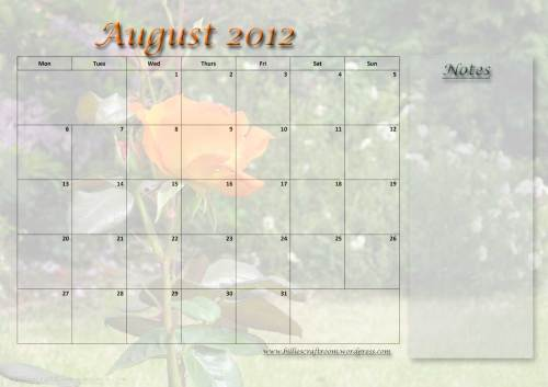 Calendar page; August 2012