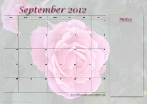Free Download. Calendar Page; September 2012