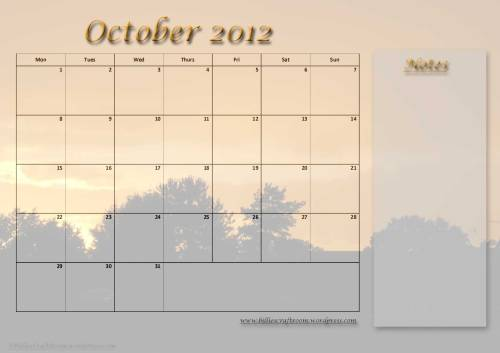 Free Calendar Page; October 2012