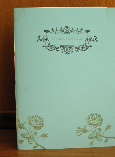 Hand made notebook embellished with Anna Griffin Stamps