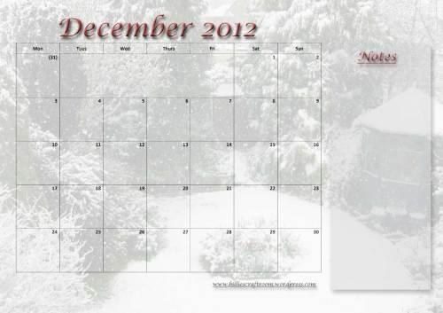 Calendar Page; December 2012