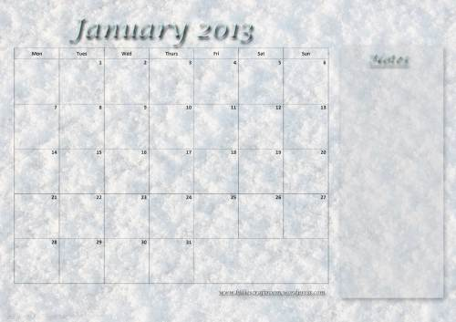 Calendar Page; January 2013