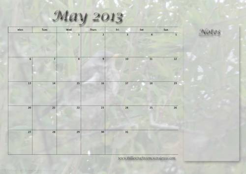 Free download: Calendar page for May 2013