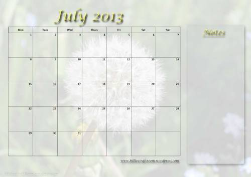 Free download calendar page July 2013