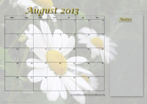 Free Download: Calendar Page August 2013