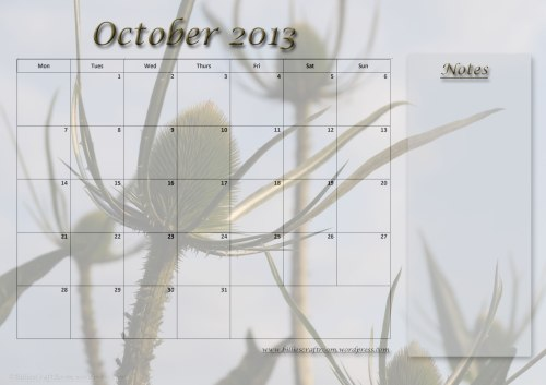 Free download calendar page October 2013