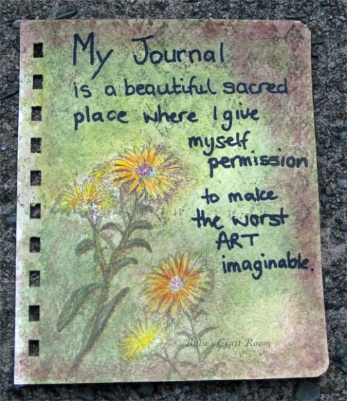 Art Journal page; I give myself permission.