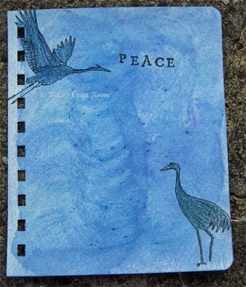Art journal page; Peace cranes