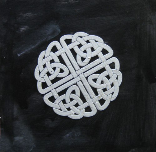Mixed media; Celtic stencil and texture paste
